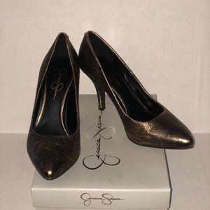 Black and copper heels